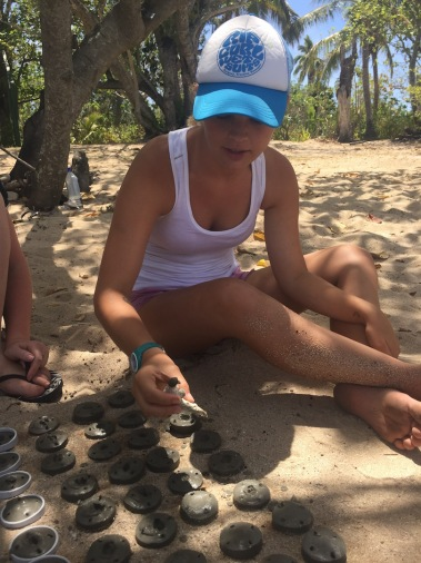 Poking holes into the coral cookies